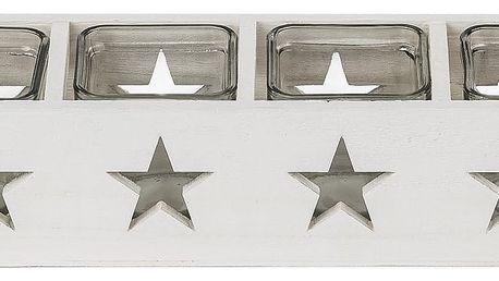 Dakls Dřevěný svícen na 4 svíčky Hvězda, bílá