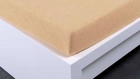 XPOSE ® Bambusové froté prostěradlo dvoulůžko - béžová 180x200 cm