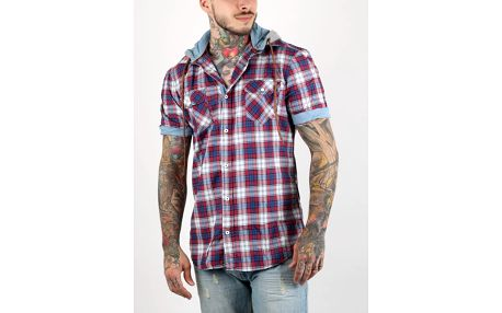 Košile Alcott HOODY SHORT SLEEVE WITH CHECKS Červená