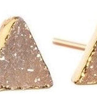 DECADORN Náušnice Mini Triangle Natural, oranžová barva, béžová barva, zlatá barva, kov, kámen