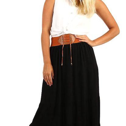 Dámská maxi sukně s ozdobným pasem černá