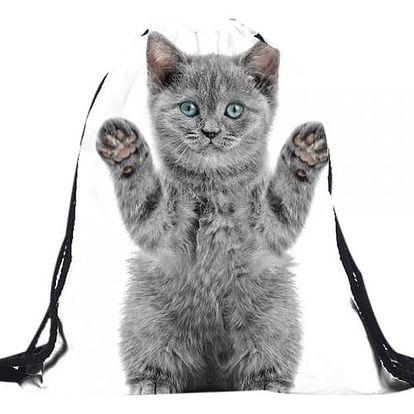 Vak na záda se šedou kočičkou - dodání do 2 dnů