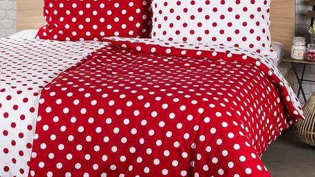 4Home Bavlněné povlečení Červený puntík, 140 x 200 cm, 70 x 90 cm