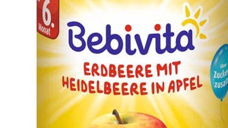 6x BEBIVITA Jablka s jahodami a borůvkami (250 g) – ovocný příkrm