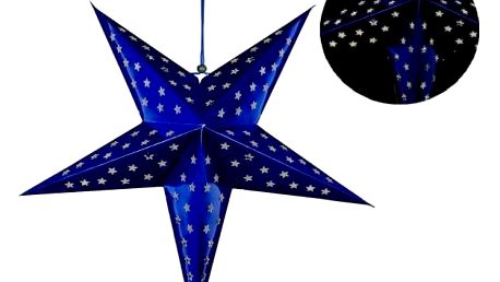 Nexos 29227 Vánoční dekorace - hvězda s časovačem 60 cm - 10 LED, modrá