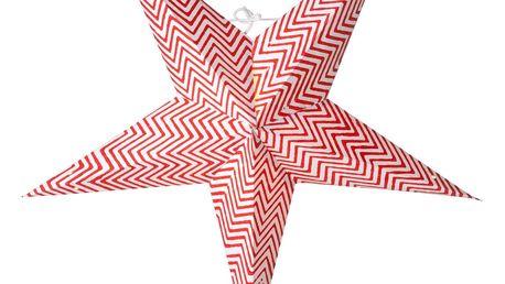 watt & VEKE Závěsná hvězda Zig-zag White/Red 52 cm, červená barva, bílá barva, plast, papír