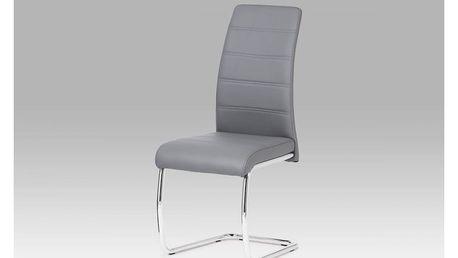 Jídelní židle DCL-407 GREY chrom / koženka šedá Autronic