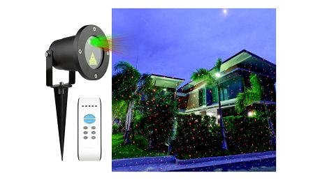 Vánoční laserový projektor - zelená/červená - 20 x 20 m s časovačem AT53748