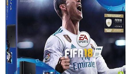 Herní konzole Sony PlayStation 4 SLIM 1TB + FIFA18 + PS Plus 14 dní (PS719913269) černá + Doprava zdarma