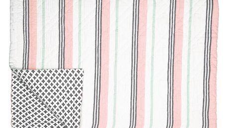GREEN GATE Prošívaný přehoz Leoma peach 180x230, růžová barva, šedá barva, textil