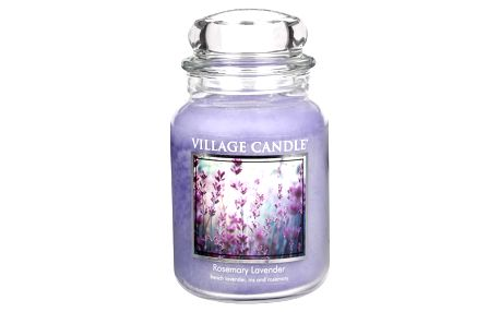 VILLAGE CANDLE Svíčka ve skle Rosemary Lavender - velká, fialová barva, sklo