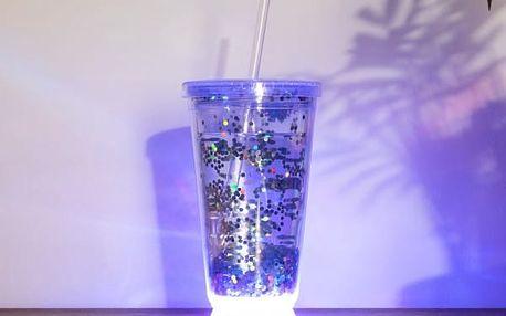 Svítící pohárek s brčkem Disco párty
