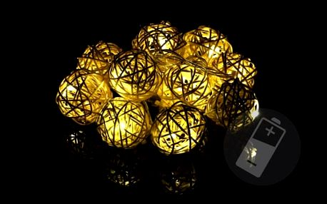 Nexos 28573 Vánoční dekorace - 10 ks světelných koulí - teple bílá, 10 LED diod