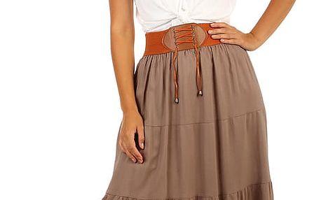 Jednobarevná maxi sukně s ozdobným pasem černá