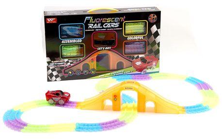 Fluorescent Rail Cars svítící autodráha blesk mekvín - 192 dílů