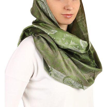 Pruhovaná dlouhá šála - pašmína světle zelená