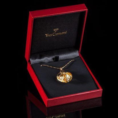 Náhrdelník srdce Yves Camani s plátky stříbra či zlata vč. pošty