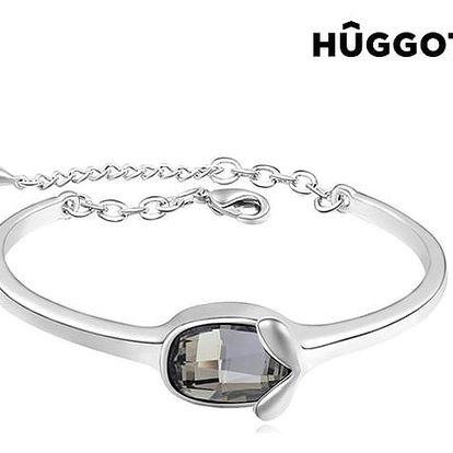 Náramek potažený rhodiem Face Hûggot vyrobený s křišťály Swarovski® Ø 6 cm