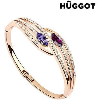 Náramek pozlacený v růžovém zlatě 18 K se zirkony Paradise Hûggot Ø 5,5 cm