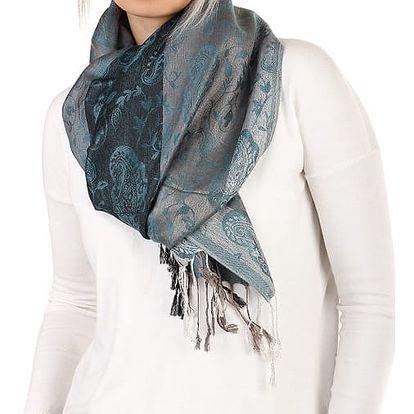 Pruhovaná dlouhá šála - pašmína modrá