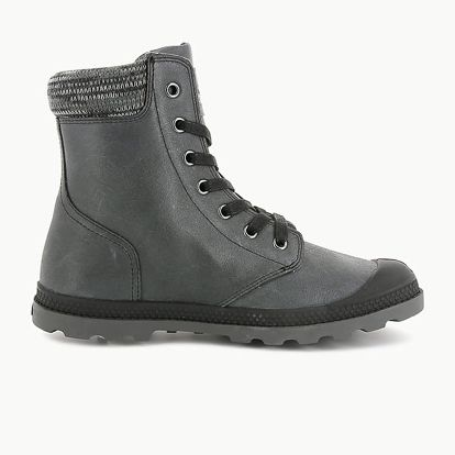 Boty Palladium Pampa Hi Knit Lp Black/Forged Iron Šedá