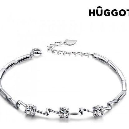 Náramek ze sterlingového stříbra 925 se zirkony Unequal Hûggot 18 cm