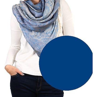 Pruhovaná dlouhá šála - pašmína tmavě modrá