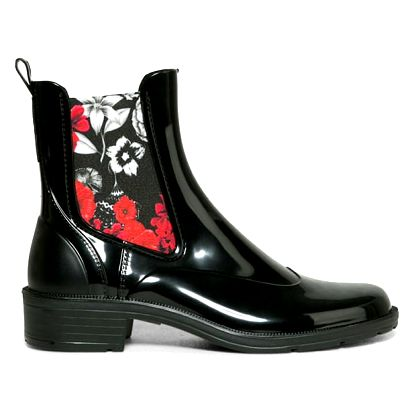 Desigual černé holínky Mid Rain Boot Bn&Red