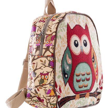 Fashion Icon Dámský batoh Velká sova červená lněný