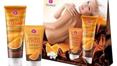 Dermacol Aroma Ritual Belgian Chocolate dárková kazeta pro ženy sprchový gel 250 ml + tělový peeling 150 ml