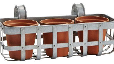 MADAM STOLTZ Zinkový košík se třemi květináči - menší, oranžová barva, šedá barva, stříbrná barva, zinek, keramika