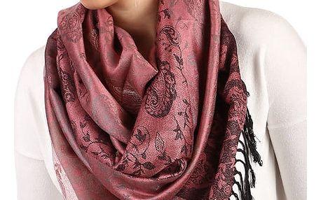 Pruhovaná dlouhá šála - pašmína růžová