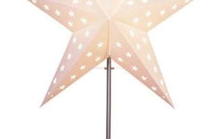 STAR TRADING Svítící hvězda na stojánku Leo White, bílá barva, papír