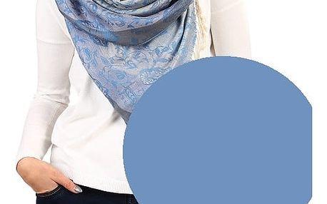 Pruhovaná dlouhá šála - pašmína modrošedá