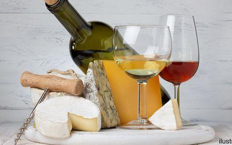 Láhev kvalitního vína z Bzence a talířek sýrů