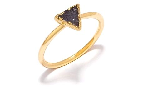 DECADORN Prsten Triangle Dark grey Medium, šedá barva, černá barva, zlatá barva, kov, kámen