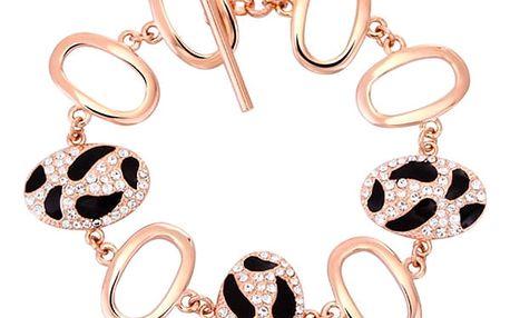 Náramek pozlacený v růžovém zlatě 18 K se zirkony Tiger Hûggot 18 cm