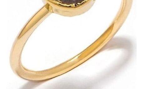 DECADORN Prsten Circle Dark grey/Gold Medium, šedá barva, černá barva, zlatá barva, kov, kámen