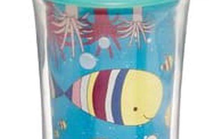 MUNCHKIN Click Lock obrázkový termohrneček s pítkem (266 ml), Modro-žlutá