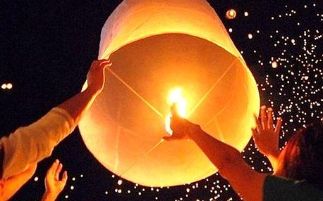 5 létajících lampionů štěstí, ideální na oslavy narozenin, výročí, svatby, posílání přání Ježíškovi.