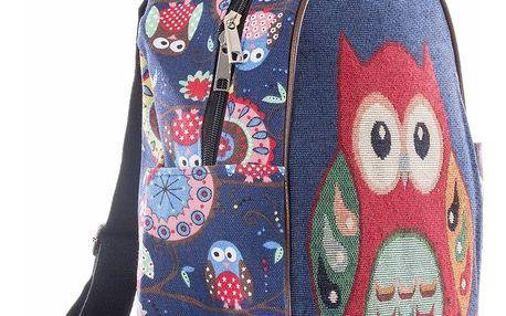 Fashion Icon Dámský batoh Velká sova lněný modrý
