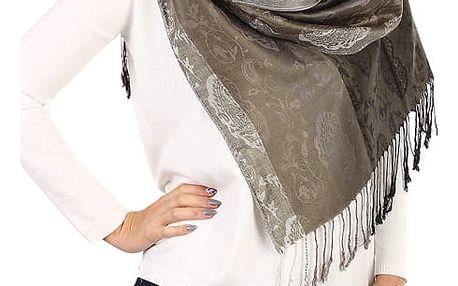 Pruhovaná dlouhá šála - pašmína tmavě šedá