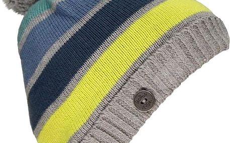 BOBOLI Zimní čepice, vel. XS/46 - šedá/pruh, kluk