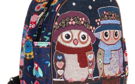 Fashion Icon Dámský batoh Winter sovy lněný