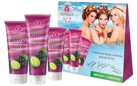 Dermacol Aroma Ritual Grape & Lime dárková kazeta pro ženy sprchový gel 250 ml + tělové mléko 200 ml + krém na ruce 100 ml