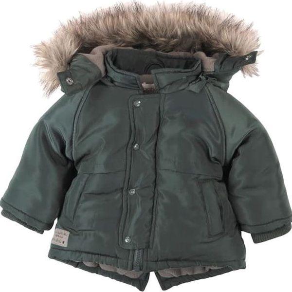 BOBOLI Zimní bunda s kožíškem, vel. 104 - khaki, kluk