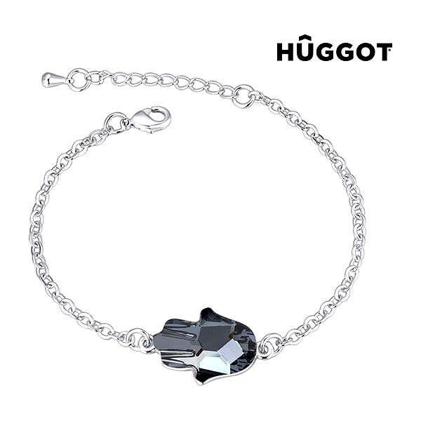 Náramek potažený rhodiem Girl Hûggot vyrobený s křišťály Swarovski® 20 cm