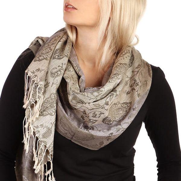 Pruhovaná dlouhá šála - pašmína béžová