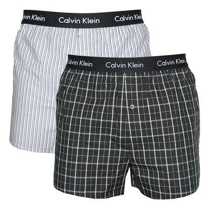 2PACK Pánské Trenýrky Calvin Klein Slim Fit Boxer černo šedé L