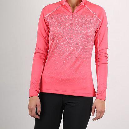 Tričko adidas Performance W 1/2ZIP LS Růžová